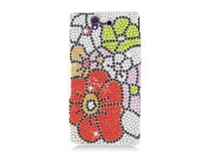 Sony Xperia Z Case, eForCity Flowers Rhinestone Diamond Bling Hard Snap-in Case Cover Compatible With Sony Xperia Z, Pink/Red