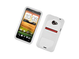 HTC EVO 4G LTE Case, eForCity Dual Layer [Shock Absorbing] Protection Hybrid Hard Snap-in Case Cover Compatible With HTC EVO 4G LTE, White