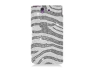 Sony Xperia Z Case, eForCity Zebra Rhinestone Diamond Bling Hard Snap-in Case Cover Compatible With Sony Xperia Z, Black/Silver