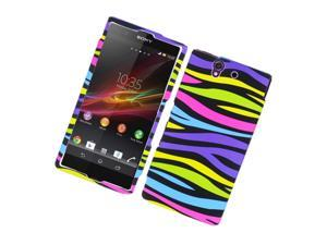 Sony Xperia Z C6603 Case, eForCity Zebra Rubberized Hard Snap-in Case Cover Compatible With Sony Xperia Z C6603, Colorful