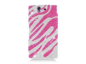 Sony Xperia Z Case, eForCity Zebra Rhinestone Diamond Bling Hard Snap-in Case Cover Compatible With Sony Xperia Z, Hot Pink/Silver