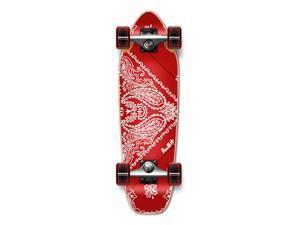 """Complete Longboard Mini Cruiser/ Banana Cruiser Skateboard 27"""" X 8"""" - Bandana RED"""