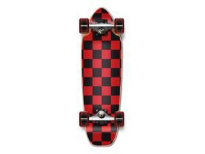 "Complete Longboard Mini Cruiser/ Banana Cruiser Skateboard 27"" X 8"" - CHECKER - Red"