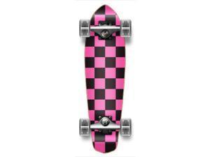 """Complete Graphic Longboard MiCro Cruiser Skateboard 25"""" X 7"""" - CHECKER PINK"""