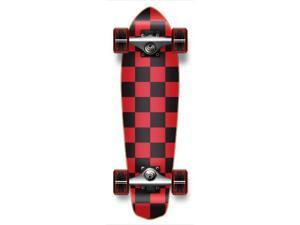 "Complete Graphic Longboard MiCro Cruiser Skateboard 25"" X 7"" - CHECKER RED"