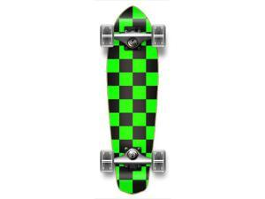 "Complete Graphic Longboard MiCro Cruiser Skateboard 25"" X 7"" - CHECKER GREEN"