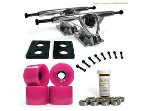 "LONGBOARD Skateboard TRUCKS COMBO set w/ 70mm PINK WHEELS + 9.675"" POLISHED trucks"