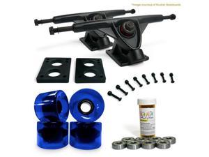 "LONGBOARD Skateboard TRUCKS COMBO set w/ 70mm BLUE WHEELS + 9.675"" BLACK trucks"