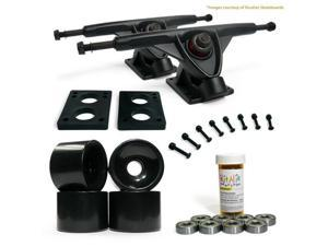 "LONGBOARD Skateboard TRUCKS COMBO set w/ 70mm BLACK WHEELS + 9.675"" BLACK trucks"