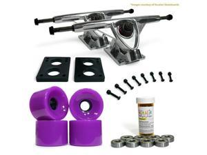"LONGBOARD Skateboard TRUCKS COMBO set w/ 70mm Solid Purple WHEELS + 9.675"" POLISHED trucks"