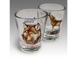 SET OF (2) SHOT GLASSES WOLF