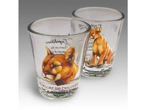 SET OF (2) SHOT GLASSES MOUNTAIN LION