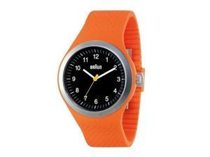 Braun Analog Sports Watch Black Face Orange Silicone Band