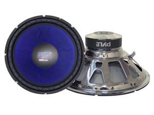 PYLE CAR AUDIO PL1890BL NEW 18 INCH 1800 WATT DVC SUBWOOFER BLUE CHROME BASKET