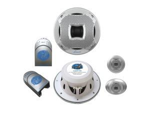 "LANZAR AQ65CMS NEW 6.5"" 400W 2-WAY MARINE COMPONENT SYSTEM SILVER COLOR - 1 PAIR"