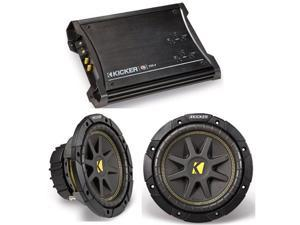 KICKER SUBWOOFER CAR PACKAGE (2) C10 SUBS & ZX350.4 AMP