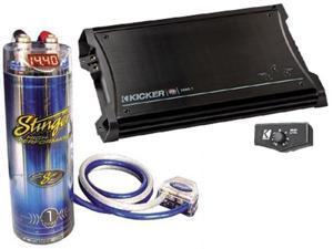 KICKER CAR AUDIO PACKAGE ZX1000.1 AMP AMPLIFIER & STINGER SCKH1 1 FARAD CAP