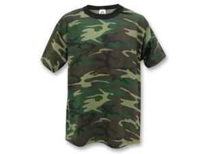 Pack Of 3 Kids Woodland Camouflage T-Shirts - Size Large