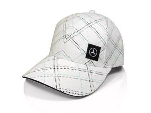 Mercedes Benz White Screenprint Baseball Cap