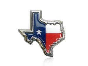 Texas Flag in TX shape with color Chrome Car Emblem