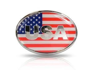 USA Flag Oval Metal Car Emblem