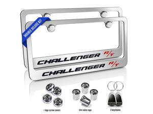 Dodge Challenger R/T Chrome Metal License Plate Frames 6 Items Double Deluxe Kit