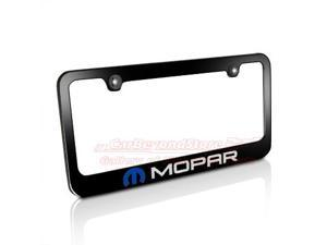 Mopar Logo Black Metal License Plate Frame