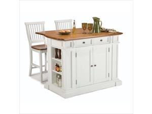 Home Styles Kitchen Island and Stools White & Distressed Oak 5002-948