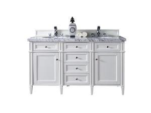 "James Martin Brittany 60"" Double Bathroom Vanity in White-3cm Snow White"