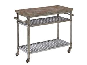 Home Styles Urban Style Kitchen Cart in Aged Metal with Concrete Top