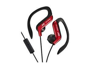 JVC HAEBR80R Sport-Clip In-Ear Ear-Clip Headphones with Microphone & Remote (Red)