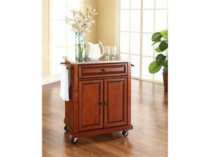Crosley Stainless Steel Top Portable Kitchen Cart/Island in Classic Cherry