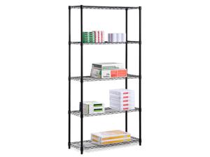 Five Tier Black Storage Shelves 200Lb