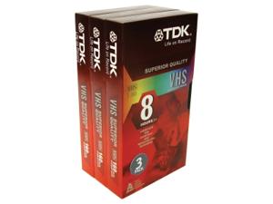 TDK Standard Grade VHS Videotape Cassette, 8 Hours, 3/Pack