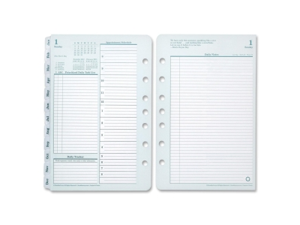 "Franklin Covey Compact Planner Refill, Daily - 1 Year - 2016 - Double Page Layout 4.25"" x 6.75"" - Green, White"