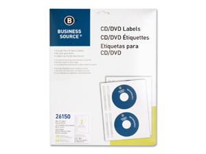 Business Source CD/DVD Inkjet Label 20 EA/PK
