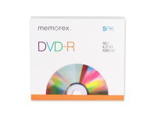 Memorex DVD Recordable Media - DVD-R - 16x - 4.70 GB - 5 Pack Slim Case 5 EA/PK