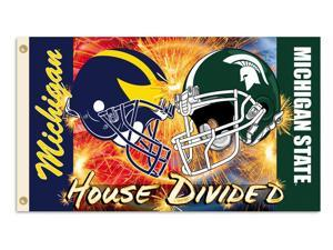 BSI Products 95993 Michigan- Michigan St.- 3 ft. X 5 ft. Flag W-Grommets- Helmet House Divided