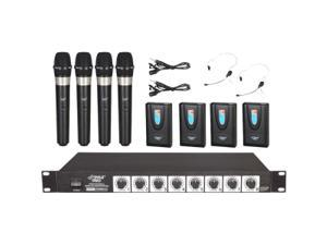 Pyle PDWM8700 8 Channel Wireless Live Sound Microphone System with 4 Lavalier Mics, 4 Headsets& 4 Handheld Mics