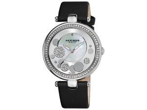 Akribos XXIV Women's Silvertone Sunray/ Diamond Dial Quartz Strap Watch