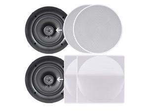 "PYLE PDIC106 10.0"" In-Wall / In-Ceiling Dual Stereo Speakers, 250 Watt, 2-Way, Flush Mount Pair"