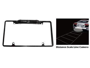 Pyle - Low Lux Rear Camera Black Chrome Metal Lisence Plate Frame
