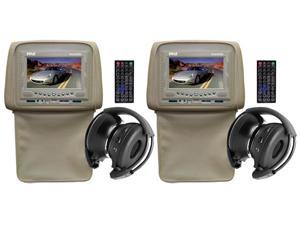 Pyle - Pair of Adjustable Headrests w/ Built-In 7'' TFT/LCD Monitor w/ Built in DVD Player & IR/FM Transmitter With Cover ...