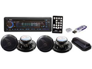 Pyle - Complete Marine Water Proof 4 Speaker CD/USB/Mp3/Combo 6.5''Speakers w/ Stereo Cover And USB Drive (Black) (Refurbished)