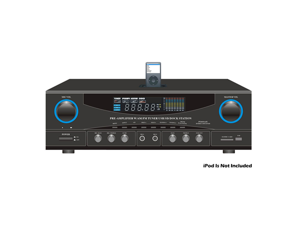 PyleHome - 500 Watt Stereo Receiver AM-FM Tuner/USB/SD/Ipod Docking Station & Subwoofer Control
