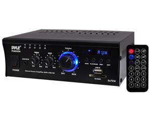 PyleHome - Mini 2x75 Watt Stereo Power Amplifier with USB/SD Card Readers, AUX, CD Inputs & LED Display