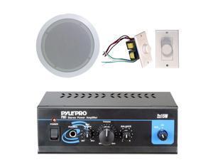 Pyle - Pyle Home Popular Amplifier/Speaker Package -- Mini 2 x 15-Watt Stereo Power Amplifier + 5.25-Inch 2-Way In-Ceiling ...