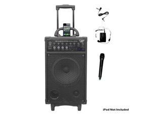 500 Watt Dual Channel Wireless Rechageable Portable PA System With iPod/iPhone Dock, FM/USB/SD, Handheld Microphone, and ...
