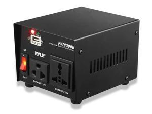 Pyle - 300 Watt Step Up and Step Down Voltage Converter Transformer with USB Charging Port - AC 110/220 V