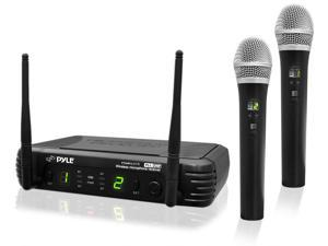 PylePro - Premier Series Professional 2-Channel UHF Wireless Handheld Microphone System with Selectable Frequencies